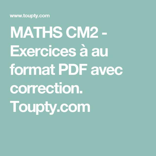 MATHS CM2 - Exercices à au format PDF avec correction. Toupty.com