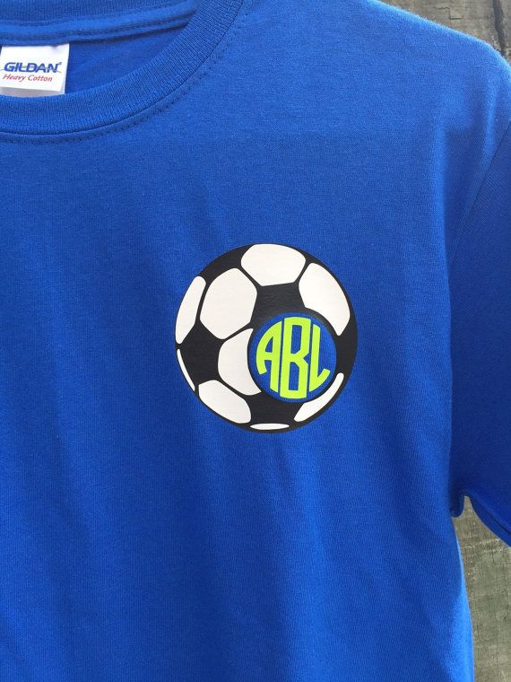 Why can't a soccer player still look cute?!? Monogrammed soccer shirt to the rescue! Would be so cute in their team colors.