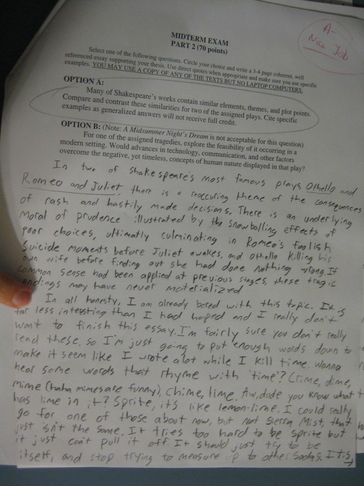 This kid.... read the second paragraph, and then check out his grade.