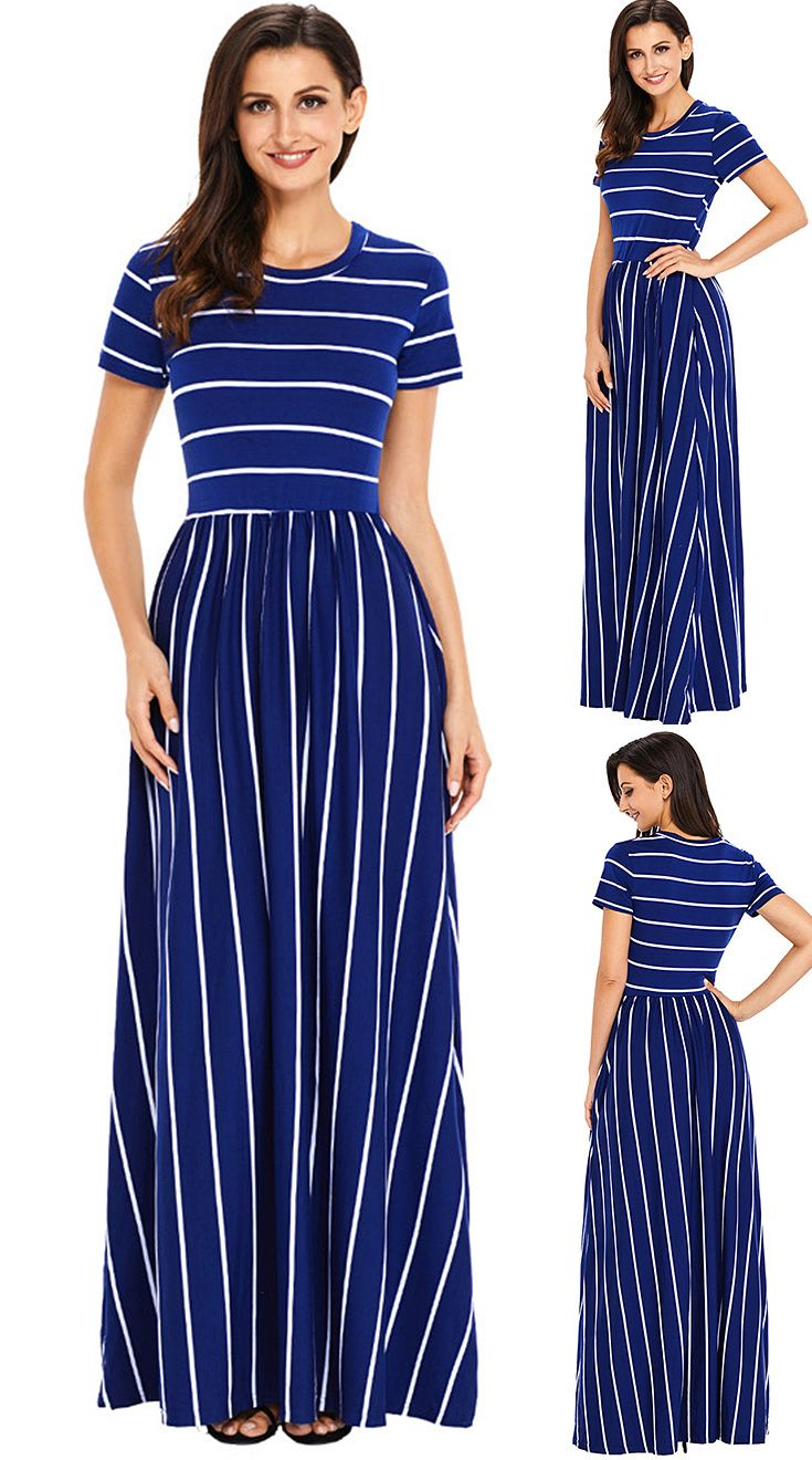 38 86us Louis Jason Women Dress Maxi Classic Striped Round Neck Short Sleeve With Pocket High Waist Dresses Vestidos Ropa Mujer Sukienki Dresses Aliexpr Short Sleeve Maxi Dresses Maxi Dress Maxi [ 1320 x 735 Pixel ]