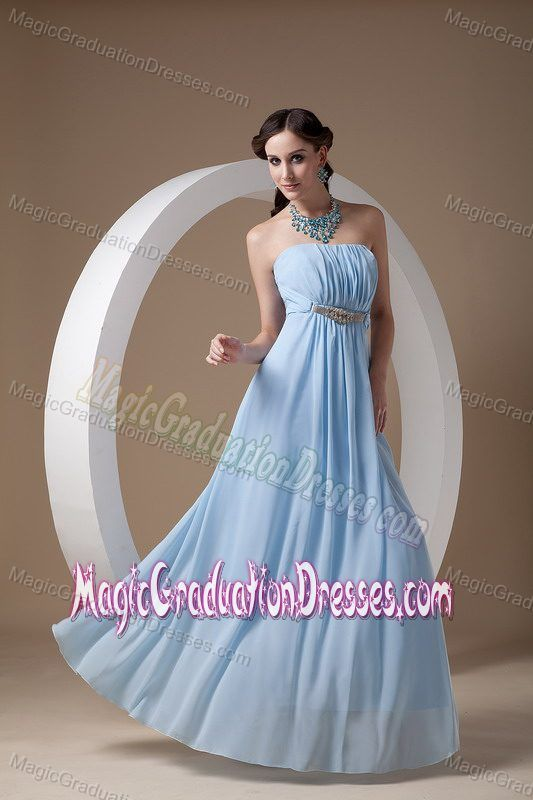 Popular Strapless Ruched Light Blue College Graduation Dress in Nome AK