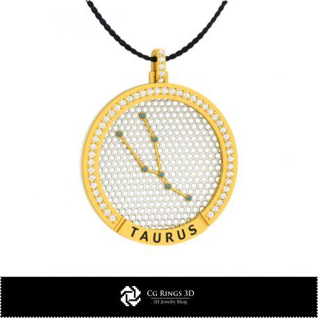 3D CAD Taurus Zodiac Constellation Pendant