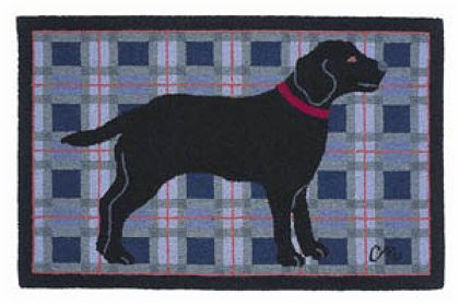 Black Lab  Claire Murray Hand Hooked rugs are made from 100% wool and backed with a cotton backing. Each design is carefully hooked with attention to the details. Superior tonal variation creates a depth to the image that cannot be duplicated. Heirloom area rugs, hand hooked to last a lifetime.
