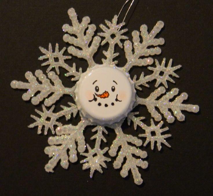 Just Me!: Snowman Face Ornaments - Bottle Caps