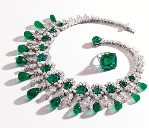 Brooke Astor's Beloved Emerald and Diamond Ring and Necklace, photo courtesy of Sotheby's.