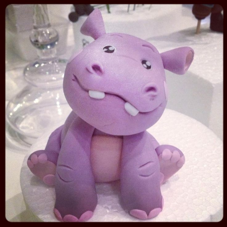 Hippopotamus porcelana fria polymer clay fimo modelado figurine topper pasta francesa masa flexible fondant
