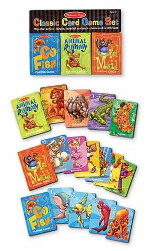 Classic Card Game Set : Kids will go wild for these three classic card games, with whimsical, colorful animal illustrations.  Set includes Old Maid, Go Fish and Animal Rummy.  Each of the three jumbo-sized, durable card decks features wipe-clean surfaces, a cardboard storage box and detailed playing instructions.