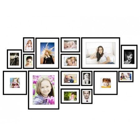 Mur de Cadres I - Oslo Noir - 16 Cadres Photos 2 5x 13x18cm (pour photo 13x18cm of 10x15cm) 5x 18x24cm (pour photo 18x24cm of 13x18cm) 1x 20x30cm (pour photo 20x30cm of 15x20cm) 2x 30x30cm (pour photo 30x30cm of 13x13cm) 1x 30x40cm (pour photo 30x40cm of 20x30cm) 2x 40x50cm (pour photo 40x50cm of 30x40cm)