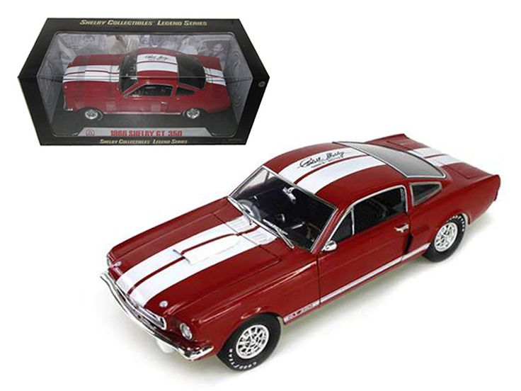 1966 Ford Shelby Mustang GT350 Red with White Stripes With Printed Carroll Shelby Signature On The Roof 1/18 Diecast Model Car by Shelby Collectibles - Brand new 1:18 scale diecast model of 1966 Ford Shelby Mustang GT 350 Red with White Stripes With Printed Carroll Shelby Signature on the roof die cast model car by Shelby Collectibles. Has steerable wheels. Brand new box. Rubber tires. Has opening hood, doors and trunk. Made of diecast with some plastic parts. Detailed interior, exterior…
