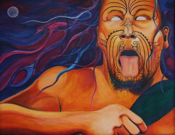 "Title: Intimidation. Personal collection, from the series, ""The study of the Maori Warrior""."