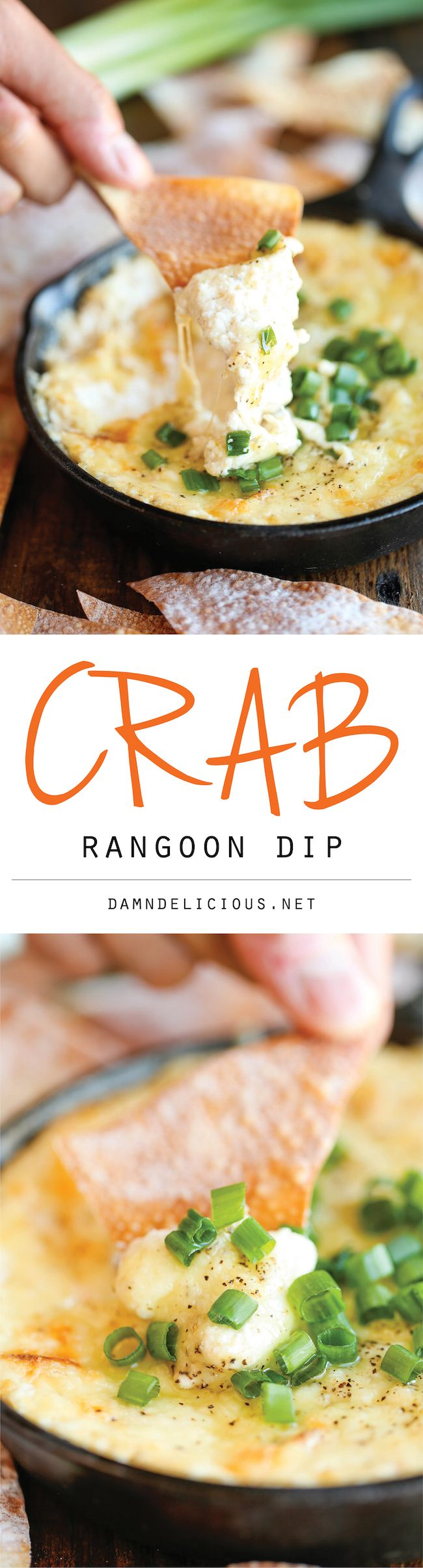 Crab Rangoon Dip - A take-out favorite made into the creamiest, cheesiest dip of all, served with the easiest homemade wonton chips!