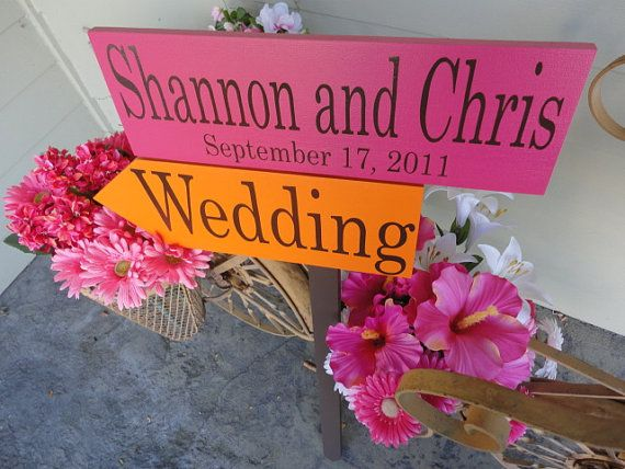 Wood Directional Signs with Arrows & Bride by OurHobbyToYourHome, $89.95