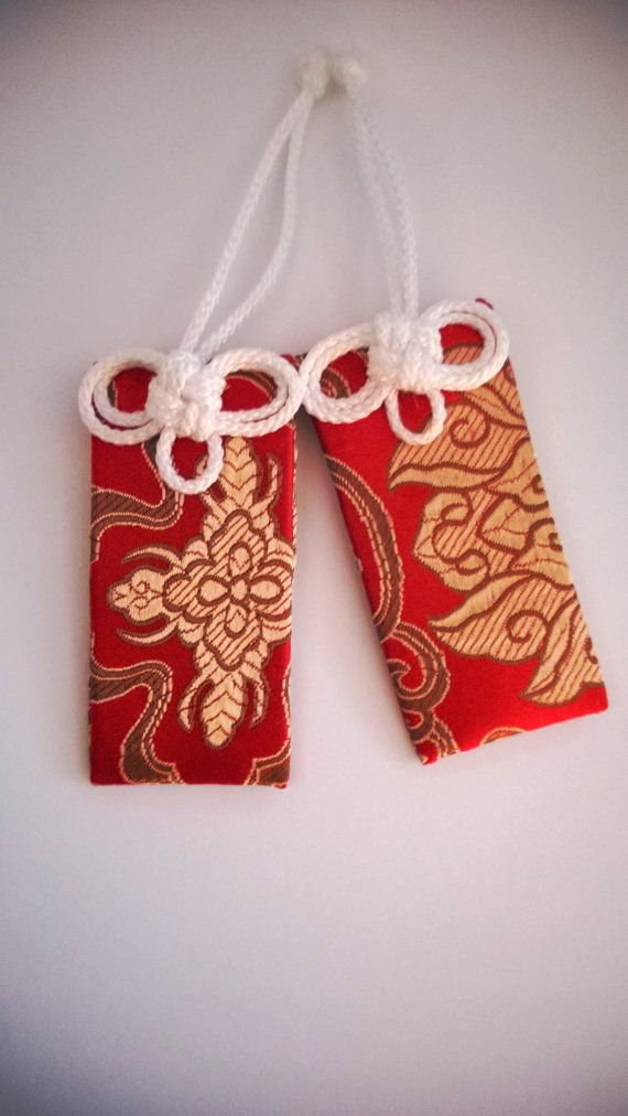 Red Brocade Buddhist Omamori Protective Charms by UrbanPrajna, $7.00