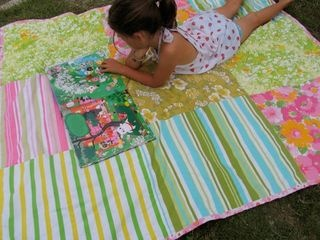 Summer beach blanket: Made from vintage sheets & chenille bedspread