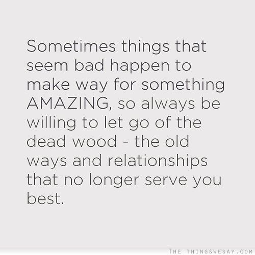 Quotes On Letting Things Happen: Sometimes Things That Seem Bad Happen To Make Way For