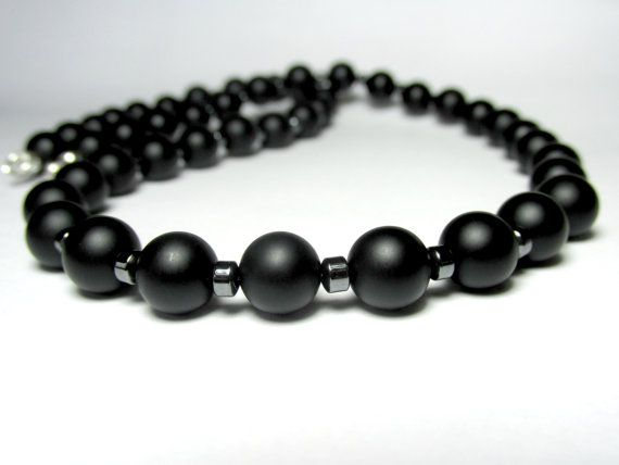 Matte Onyx and Hematite Necklace, Mens Beaded Necklace, Gemstone Necklace, Mens Onyx Necklace, Necklace for Men, Silver Necklace
