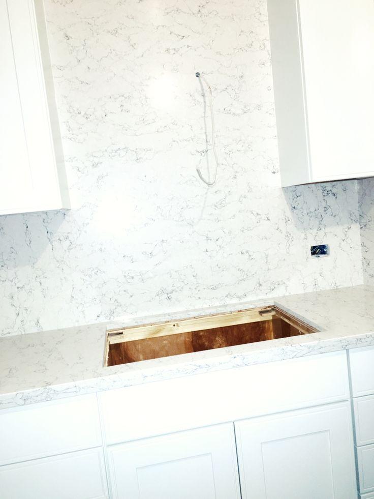 White arabesque silestone quartz countertops Kitchen
