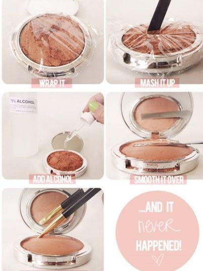 "Photo : Check out this great solution for broken up face powders, eye shadow   and blush. ""1) Cover the compact with the plastic wrap and make sure it adheres tightly to contain everything. 2) With your spatula, crush up the entire shadow, not just the broken pieces. You need to turn the pressed powder back into loose powder. 3) Remove the wrap and add at least 10 droppers full of alcohol. You can add a few droppers full at a time to see how much you need. 4) Now you'll feel the powder has…"