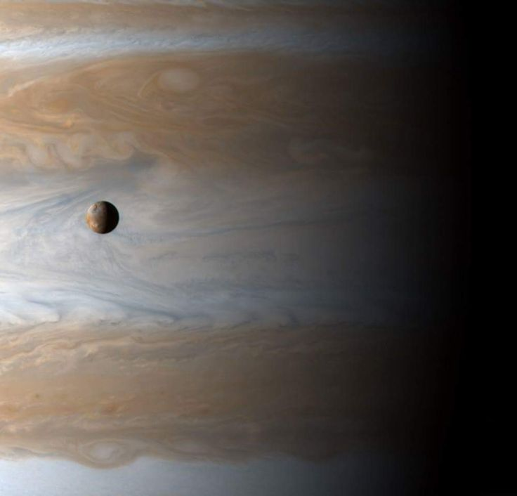 "APOD: Io: Moon over Jupiter (2016 Aug 07) Image Credit: Cassini Imaging Team, SSI, JPL, ESA, NASA http://apod.nasa.gov/apod/ap160807.html  Explanation:  How big is Jupiter's moon Io? The most volcanic body in the Solar System, Io (usually pronounced ""EYE-oh"") is 3,600 kilometers in diameter, about the size of planet Earth's single large natural satellite. Gliding past Jupiter at the turn of the millennium, the Cassini spacecraft captured this awe inspiring view of active Io with the largest…"