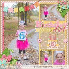 Layout by SugarBabe Nikki Words and Pictures Templates 9 by Misty Cato Birthday Girl by Amber Shaw #sweetshoppedesigns #digitalscrapbooking #scrapbook #layout #birthday #celebrate