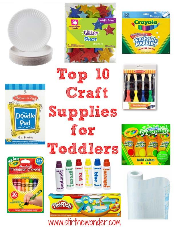 Top 10 Craft Supplies for Toddlers | we have most of these for our 2 and 5 year old and they are wonderful! Add safety scissors and glue for the older crowd, and an accessible place to organize and store them and you are set :)