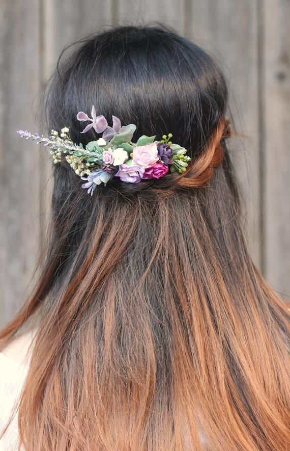 Wedding Hair Comb Magenta Purple Lilac Purple Purple Hair