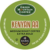 Green Mountain Coffee - Extra Bold Kenyan AA K-Cups   K-CUP® COFFEE. Green Mountain Extra Bold Kenyan AA K-Cups are a medium roast whose pre...