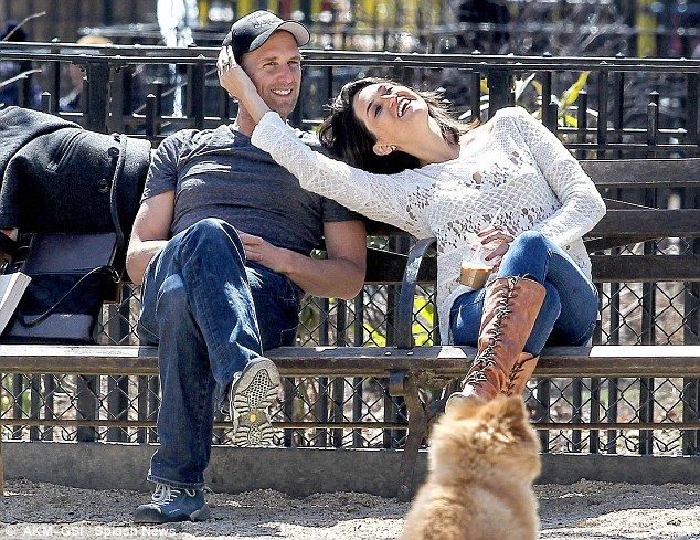 What break up? Josh Lucas and his ex-wife Jessica are seen looking rather affectionate with each other in New York