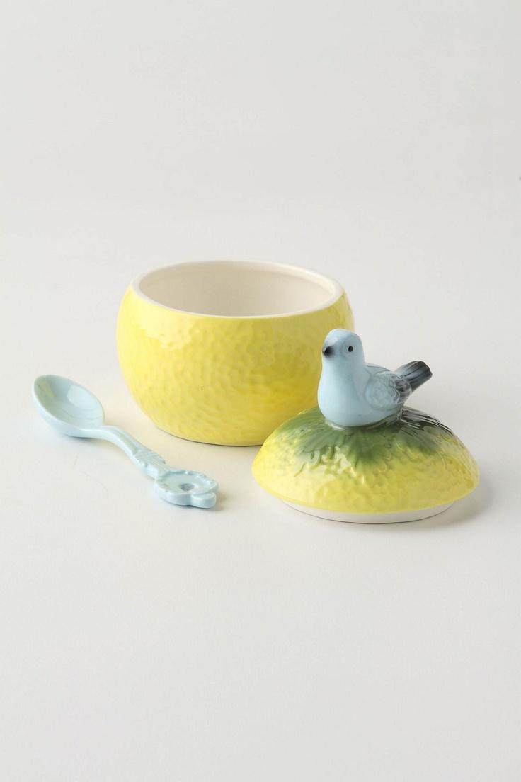 Yellow sugar bowls with lids - Grapefruit Sugar Bowl