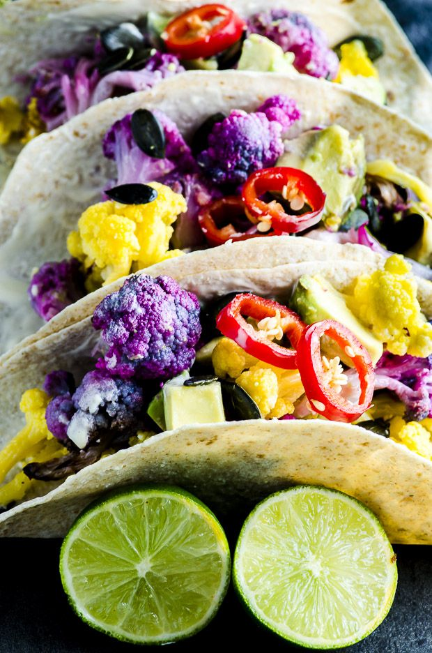 These Roasted Yellow and Purple Cauliflower Tacos are not only healthy good for you, but they are totally stunning with their popping colors, there like a rainbow on a plate.