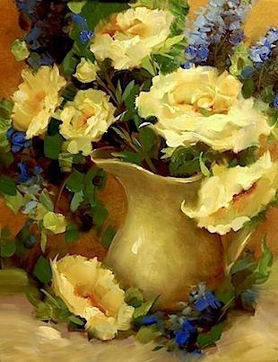 Ranunculus and Roses by Texas Flower Artist Nancy Medina, painting by artist Nancy Medina