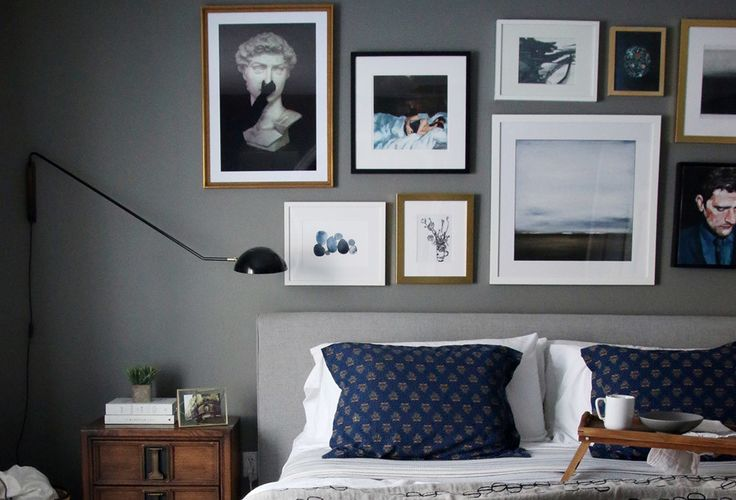 """""""For a perfectly curated gallery wall, pay attention to size and orientation. Make sure you have a good variation of horizontal and vertical pieces—as well as squares!"""""""