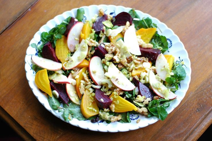 Beets, Apples, and Cress with Walnuts and Curry Vinaigrette by Deborah Madison from Greens cookbook