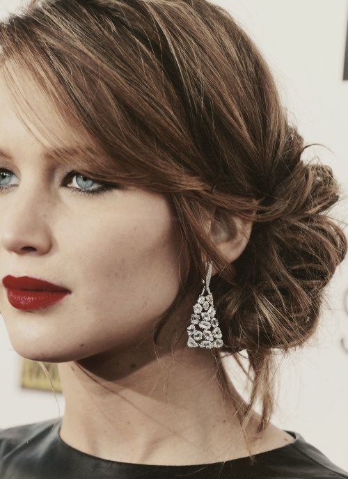 jennifer lawrence. love this hair style, perfect for a wedding. I love this color and style! @Tatianna Montoya