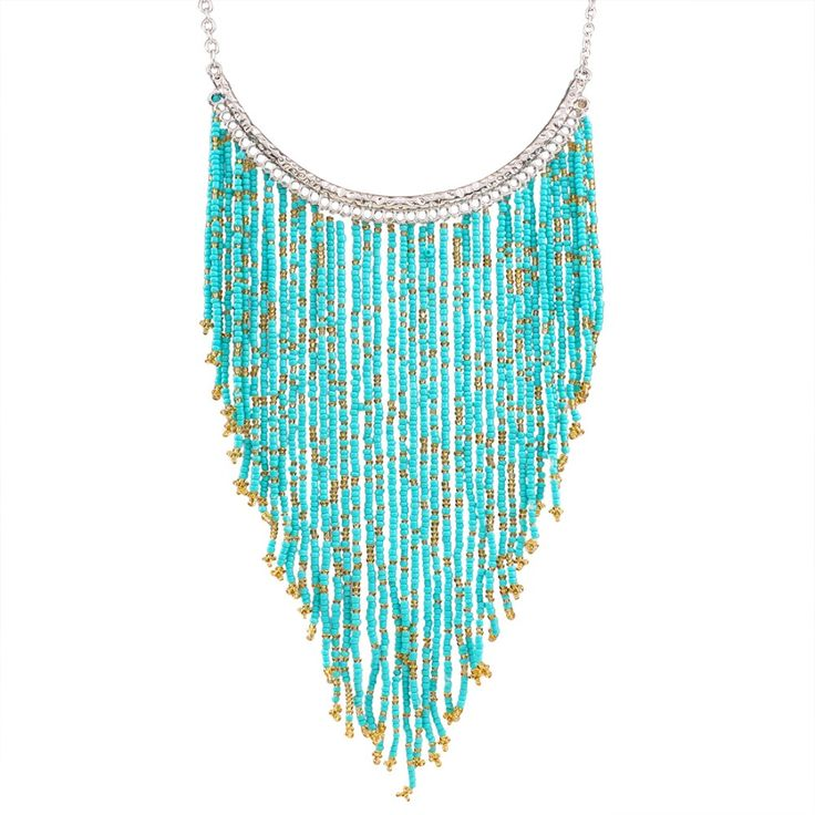 100% Handmade Bohemian Style Long Tassel Fashion Jewelry Turquoise Color Beads Pendant Statement Necklace XL5180-in Choker Necklaces from Jewelry & Accessories on Aliexpress.com | Alibaba Group