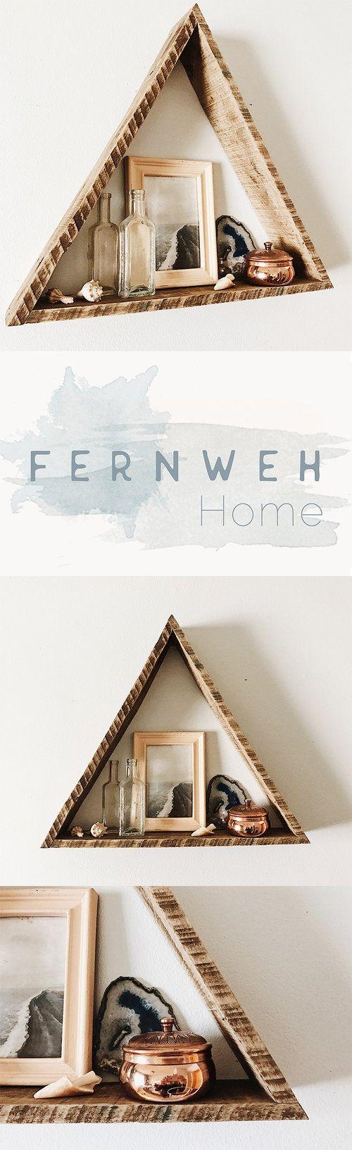 Large Reclaimed Wood Triangle Shelf, Pallet Wood Triangle Shelf, Geometric Shelf