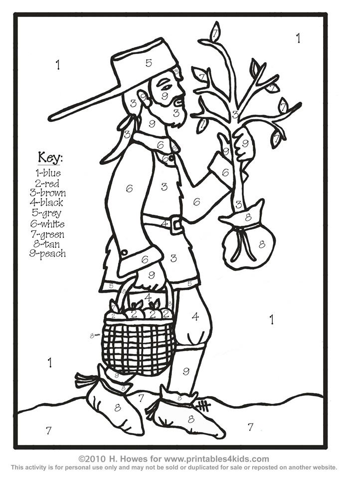 Johnny Appleseed John Chapman Color by Number : Printables for Kids – free word search puzzles, coloring pages, and other activities