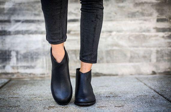 VENDITA Leather Boots stivali neri stivaletti stivali di abramey