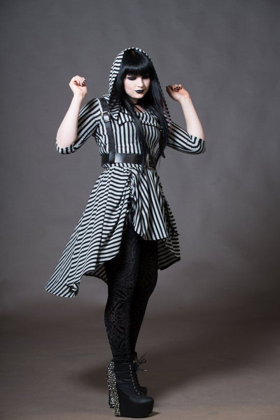 9bcfc0c8002 Hooded Gothic Dress - Goth Hoodie High Low Skirt Dress Witchy Clothing Nu  Goth -