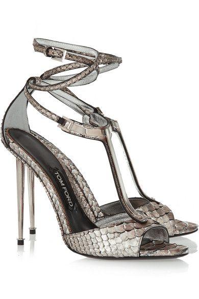 Tom Ford | Embellished metallic python T-bar sandals | NET-A-PORTER.COM