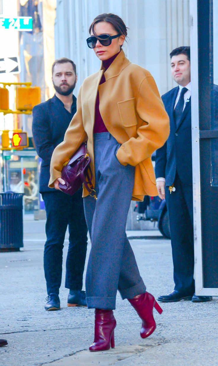 The English designer, Victoria Beckham, infused a neutral palette with clever cuts for an outing in the city.