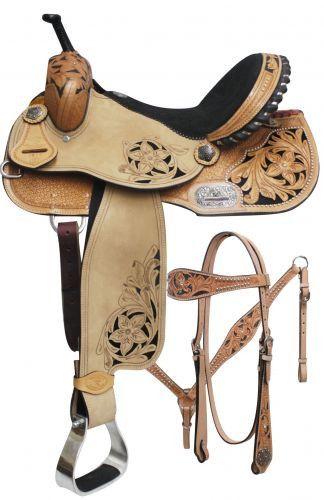Tooled Floral Design Barrel Style Saddle Set