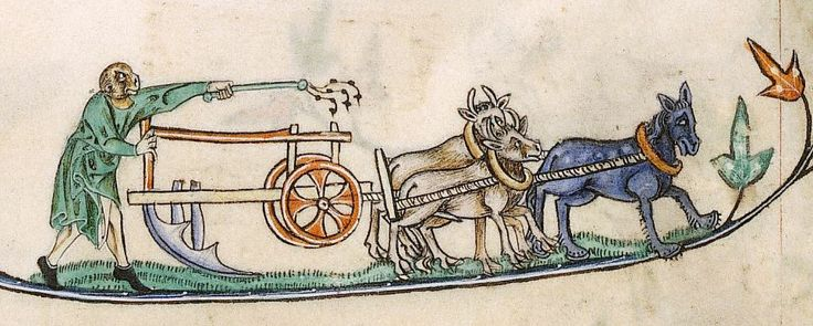 Monkey plowing, Add 49622, 14th c., f. 15v. British Library.