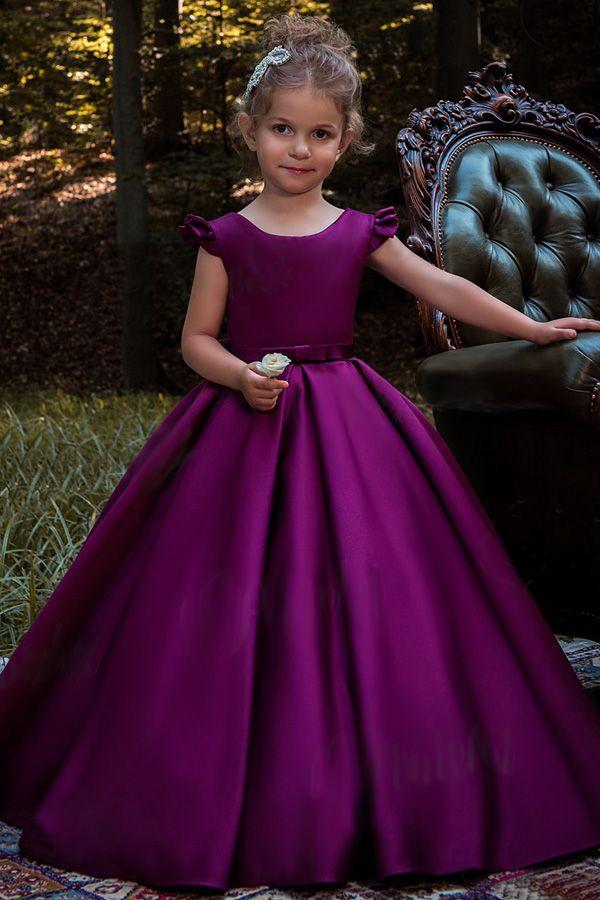 8786c7356 Sweet Satin Scoop Neckline Cap Sleeves Floor-length Ball Gown Flower ...