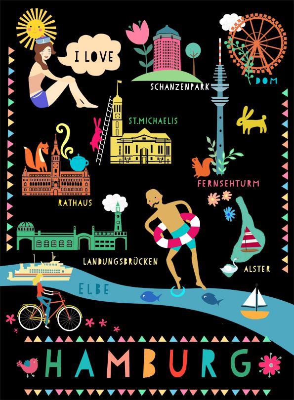 """""""I love Hamburg"""" poster by Elisandra, 2014"""