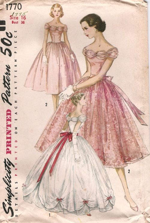 Simplicity 1770 ©1956 Evening Dress in Two Lengths with Detachable Overskirt