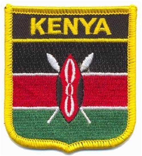 KENYA FLAG PATCH  - SHIELD - EMBROIDERED BADGE #Unbranded