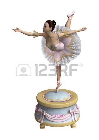 Digitale 3D-Darstellung von einer schönen weiblichen Ballett-Tänzerin auf einem Vintage-Spieluhr auf weißem Hintergrund