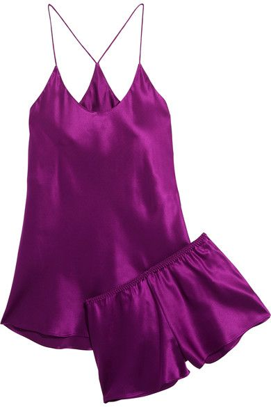 Plum silk-satin Slips on 100% silk Hand wash or dry clean Imported