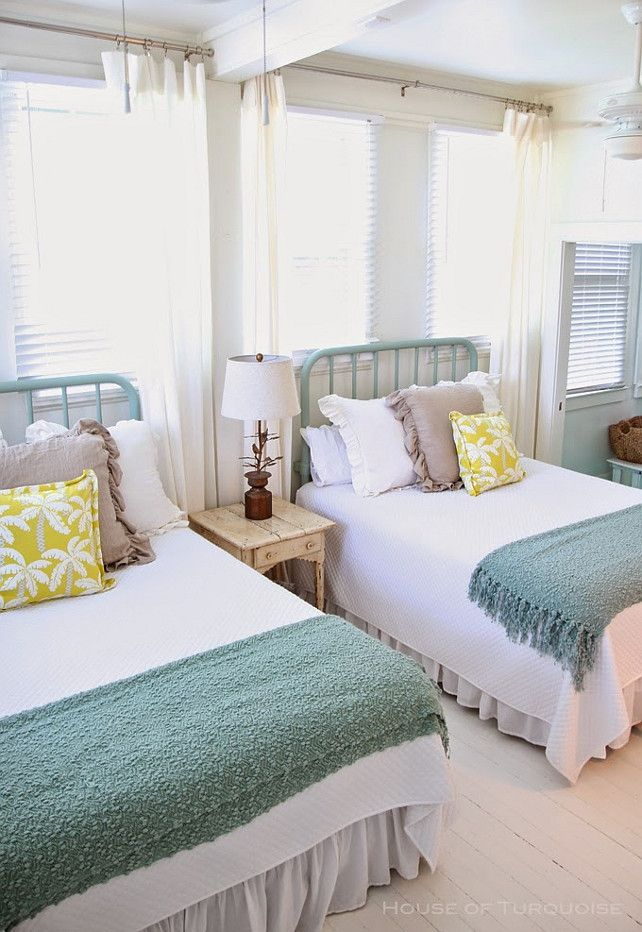 Cottage-y Coastal Bedroom Decor. Bedroom. Coastal Bedroom Decor Ideas. #Bedroom #CoastalBedroom #SharedBedroomDesign Via House of Turquoise.  Designed by Jane Coslick.
